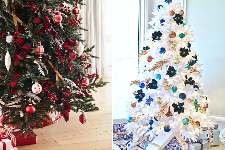 photo of a green Christmas tree with red decorations and a white tree with blue, orange, and green ornaments