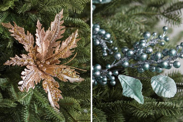 metallic magnolia picks and blue berry picks on a Christmas tree