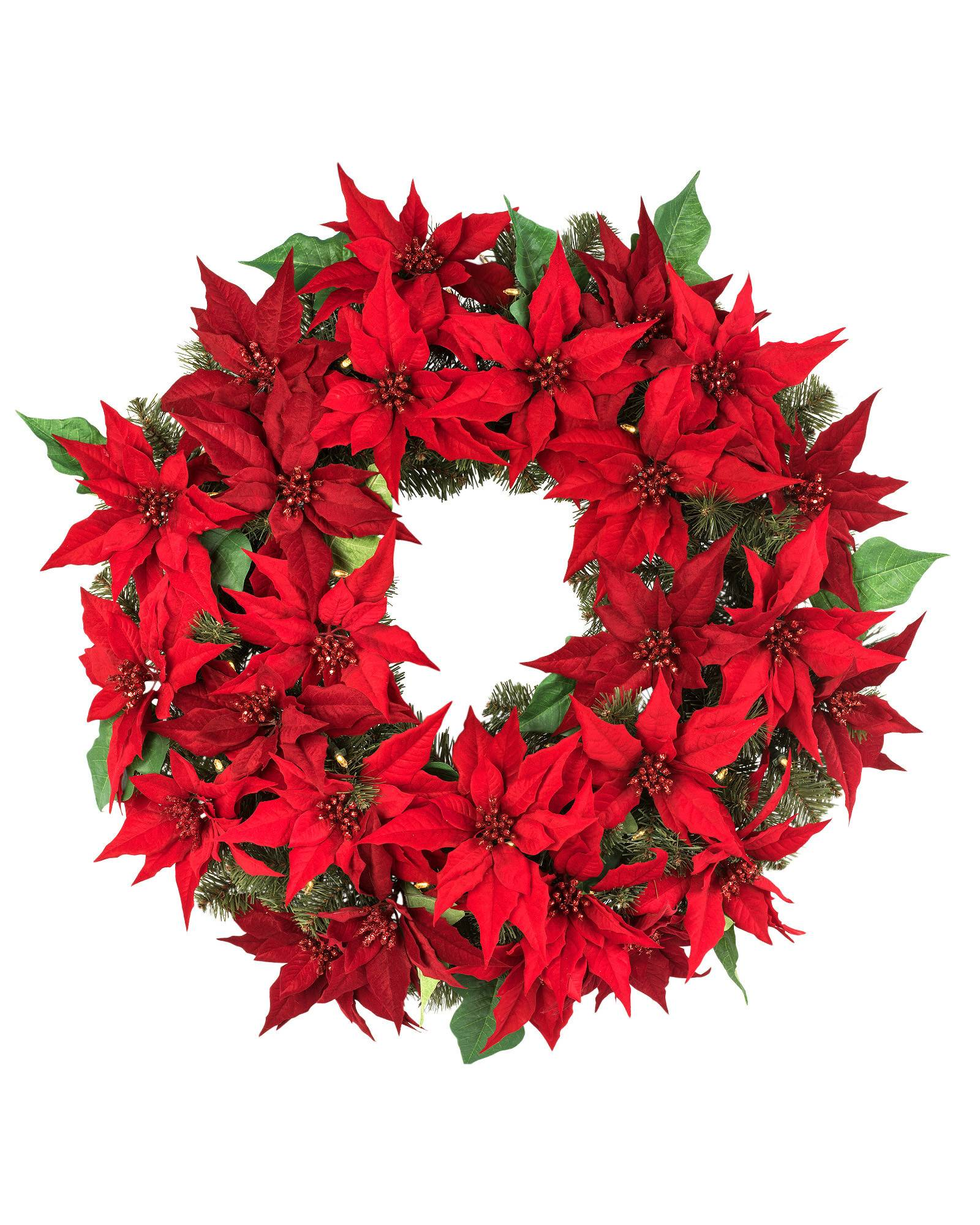 Holiday led battery operated poinsettia foliage balsam hill for 5ft poinsettia garland christmas decoration