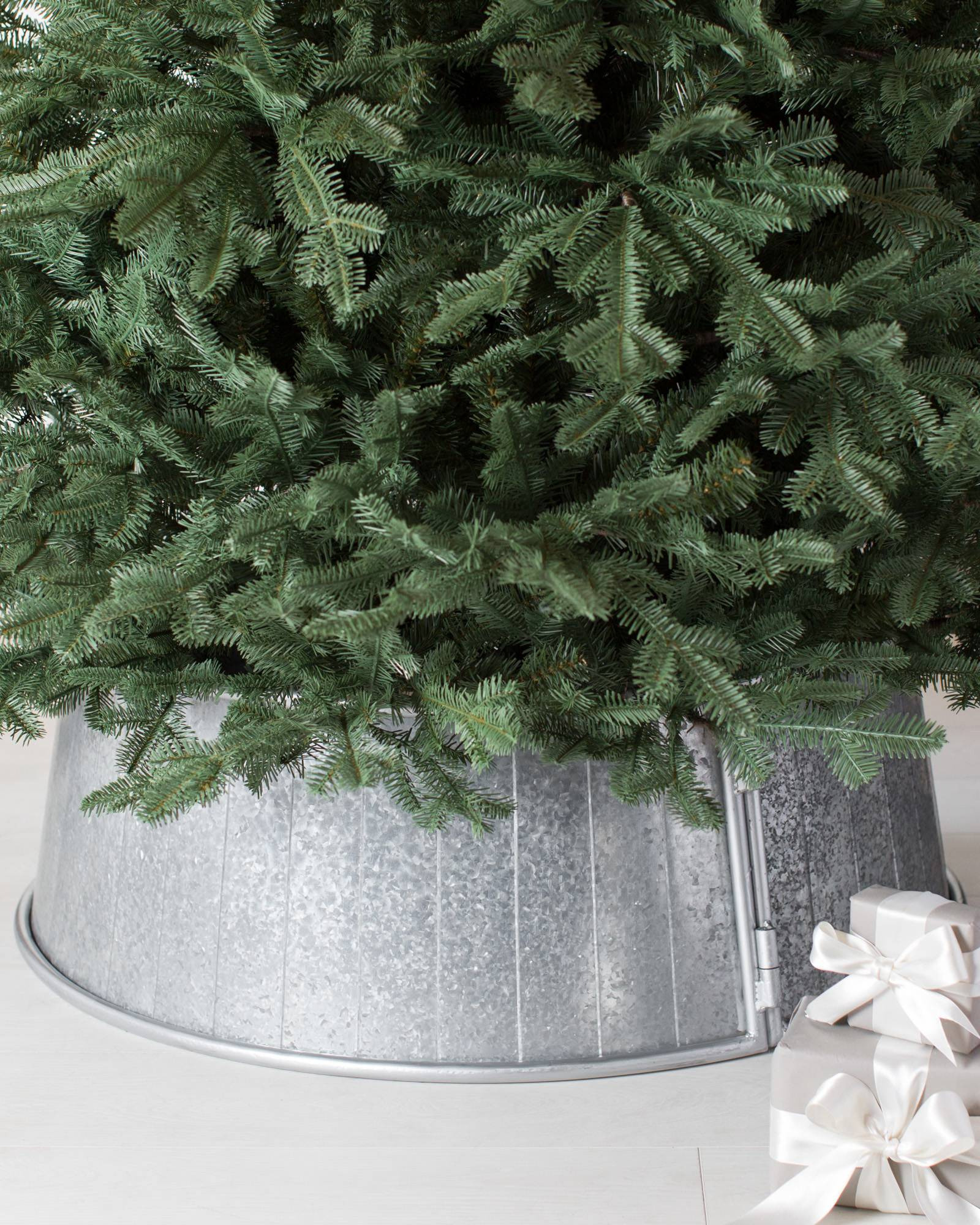 denali white artificial christmas tree balsam hill galvanized tree collar main