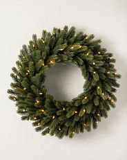 artificial wreath with clear lights