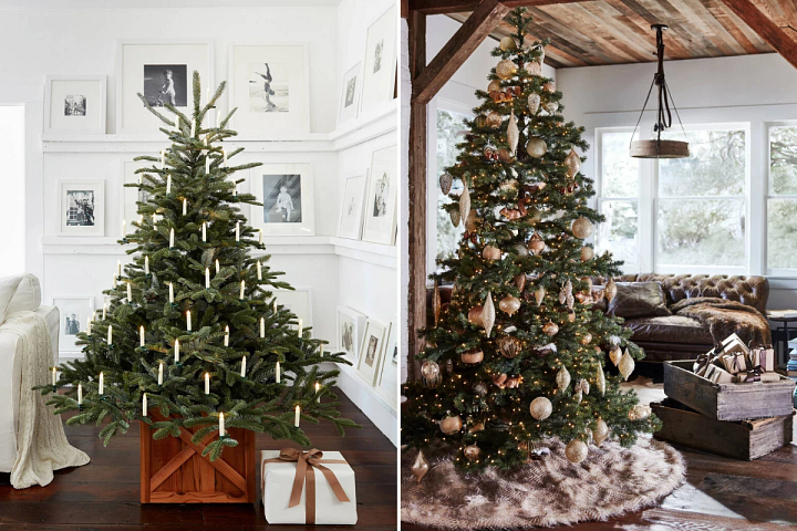 photos of two sparse artificial Christmas trees with various decorations
