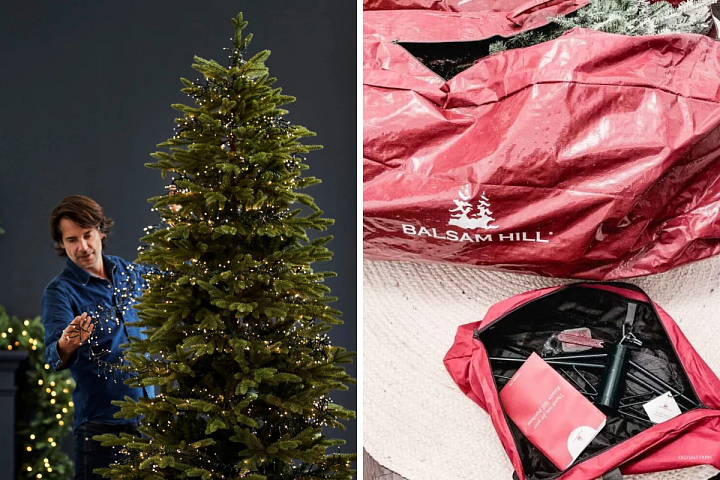 Man hanging Christmas lights on a tree and photo of Balsam Hill Christmas tree storage bags