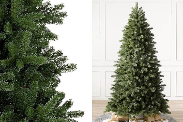 A close-up of the Woodland Spruce artificial Christmas tree on the left and the full profile of the tree on the right