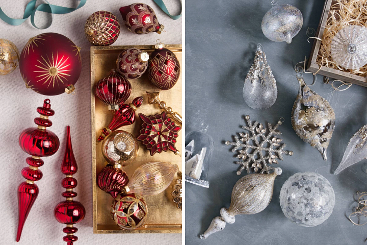 Set of burgundy and gold baubles and winter white baubles