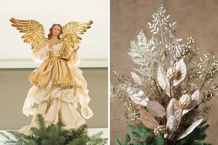 angel tree topper and bouquet tree topper