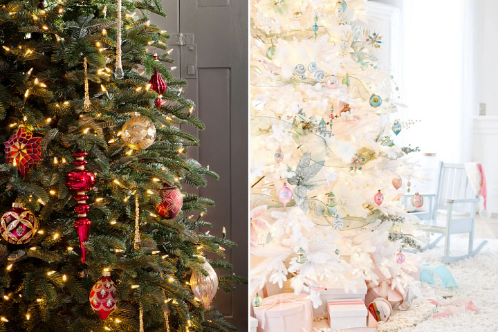 Balsam Hill Nordmann Fir tree with red and gold baubles and the Mont Blanc tree with pastel-coloured decorations