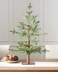 sparse tabletop Christmas tree with LED lights