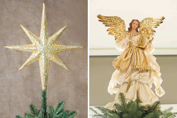 a star beaded tree topper and a gold angel tree topper