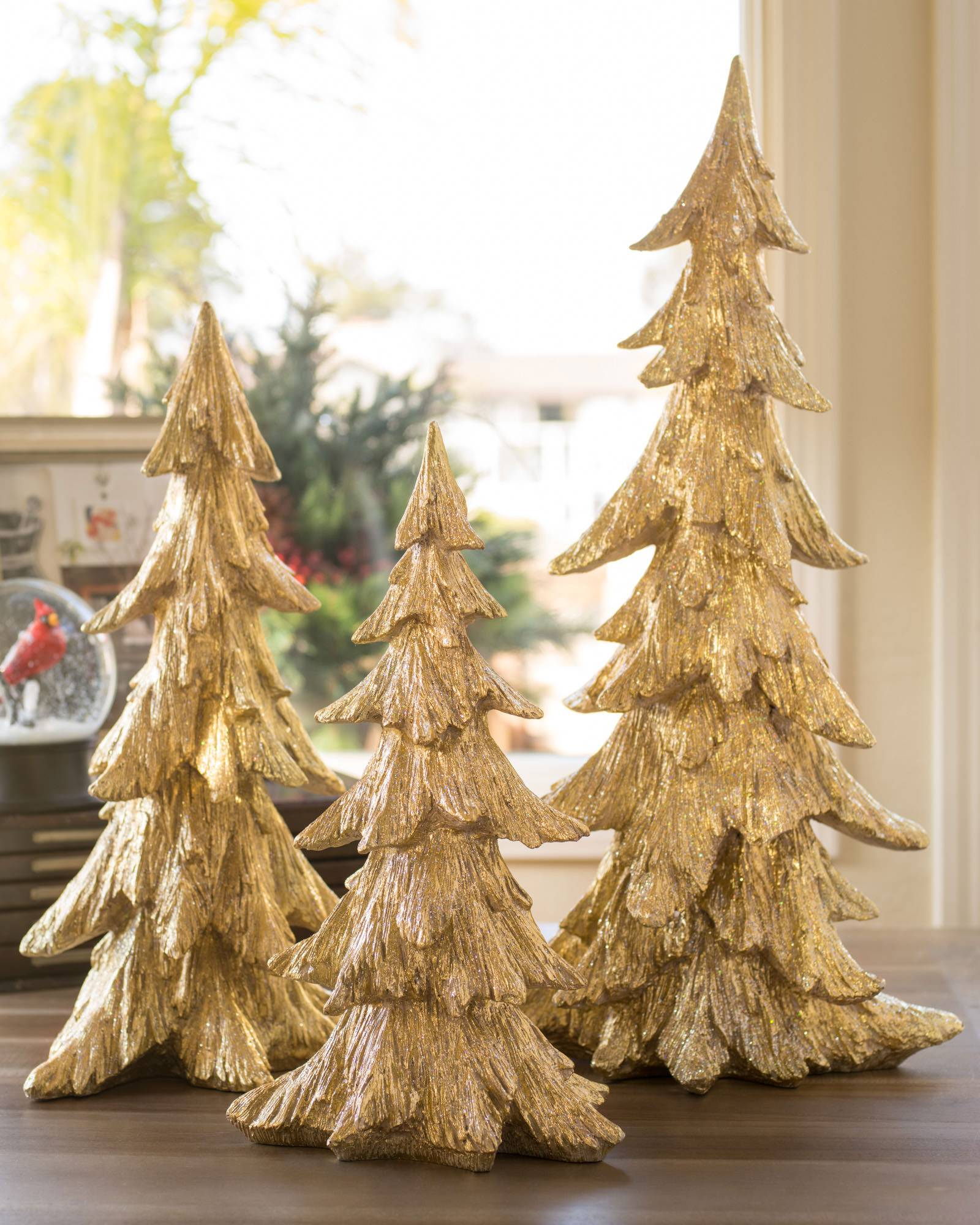Tabletop ornament tree - Golden Christmas Tabletop Trees Set Of 3 Main