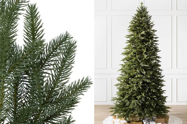Nahaufnahme eines künstlichen Silverado Slim links und vollständiges Profil des Baums rechts
