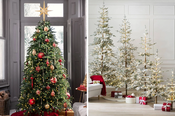 A Nordmann Fir tree decorated with red and gold baubles on the left, and a set of five Frosted Alpine Balsam Fir trees in varying sizes on the right