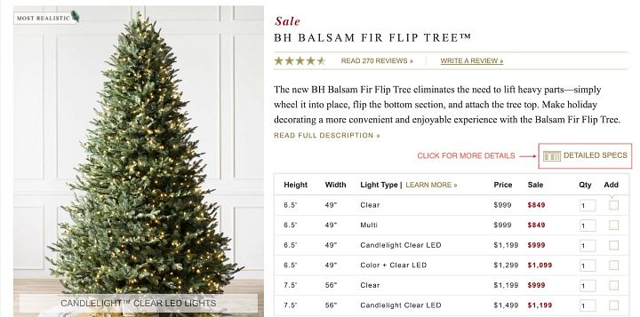 screenshot of an artificial Christmas tree product page