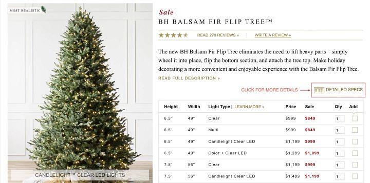 screenshot of Christmas tree product page
