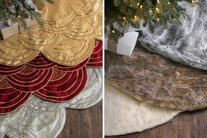 beaded tree skirts in silver, burgundy, and gold and faux fur tree skirts in ivory, stone, and smoke colors