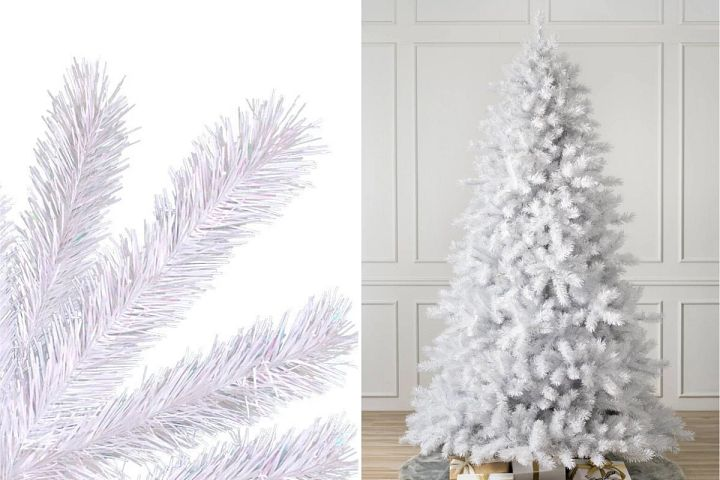 close-up and wide shots of Balsam Hill Classic White Christmas tree