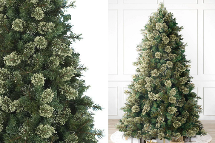 A close-up of the Scotch Hill Pine artificial Christmas tree on the left and the full profile of the tree on the right