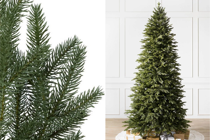 close-up and wide shots of Balsam Hill Silverado Slim Christmas tree