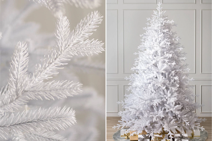 close-up and wide shots of Balsam Hill Denali White Christmas tree