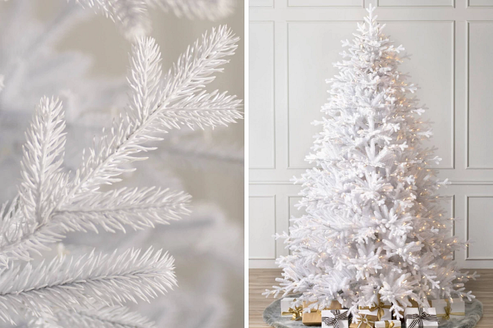 A close-up of the Mont Blanc artificial Christmas tree on the left and the full profile of the tree on the right