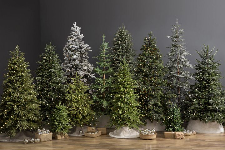 different artificial Christmas tree sizes, colors, and lights