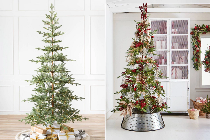 photos of an undecorated and a decorated sparse artificial Christmas trees