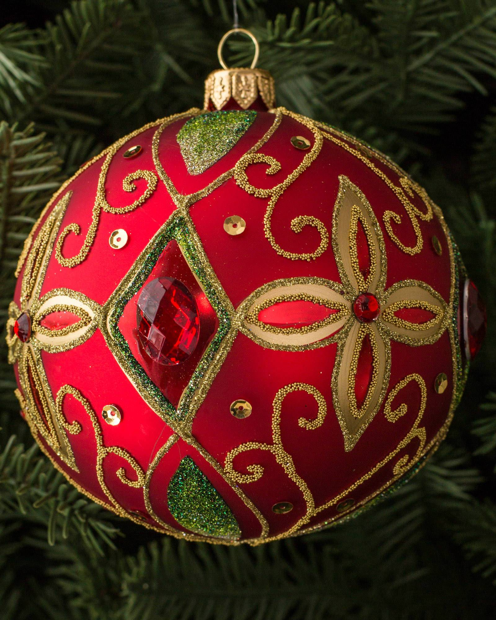 Red glass ball ornaments -  Burgundy And Gold Decorated Glass Ball Ornament Set