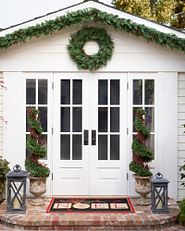 outdoor-safe artificial greenery wreath and garland