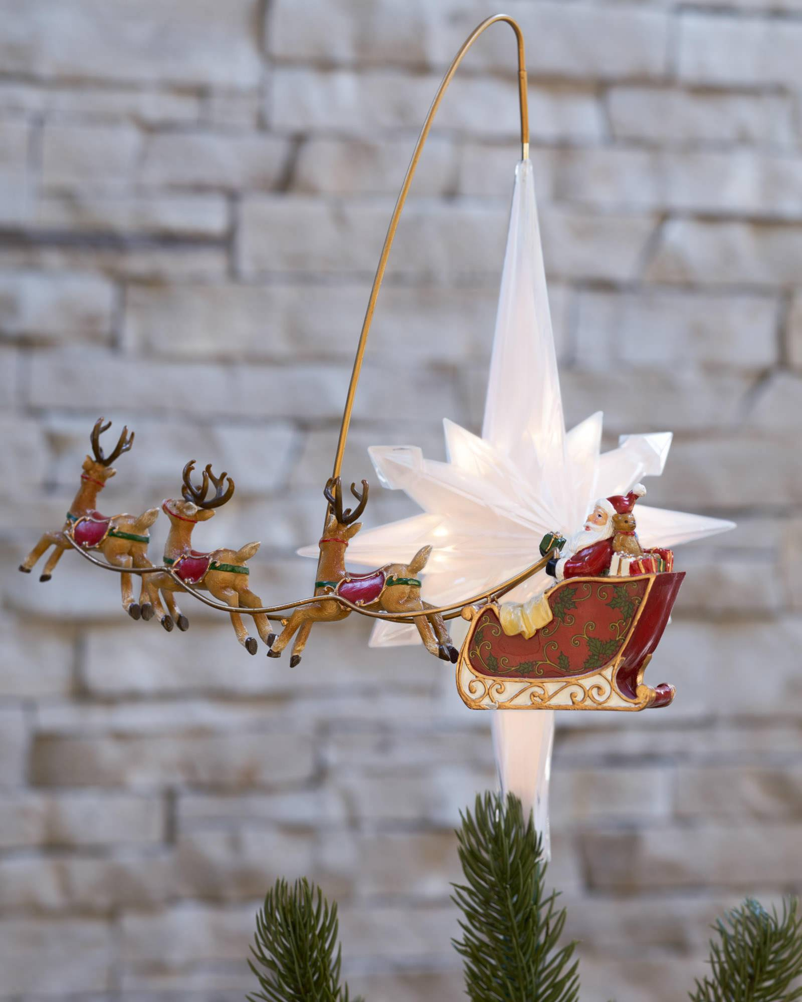 Santa sleigh ornament - Santafts Sleigh Animated Tree Topper Main Santafts Sleigh Animated Tree Topper Alt