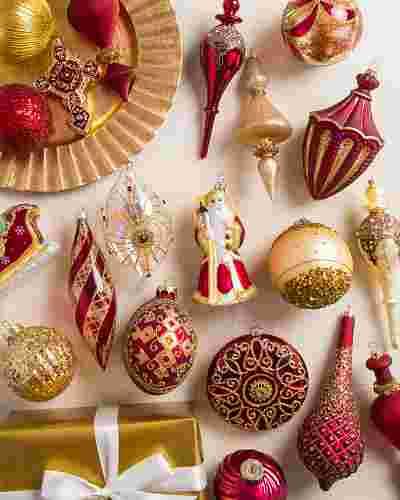 Noel Glass Ornament Set, 35 Pieces Main