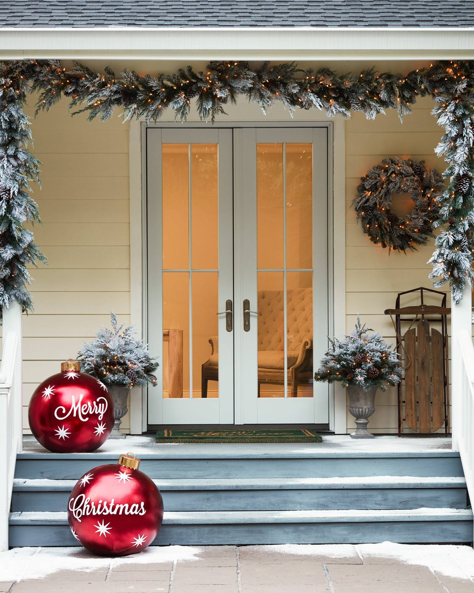 Merry Christmas Decorations Outdoor : Outdoor merry christmas ornaments balsam hill