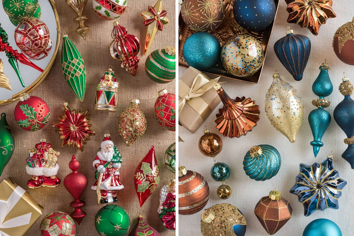 red, green, and gold Christmas ornaments and blue, copper, and gold Christmas tree ornaments