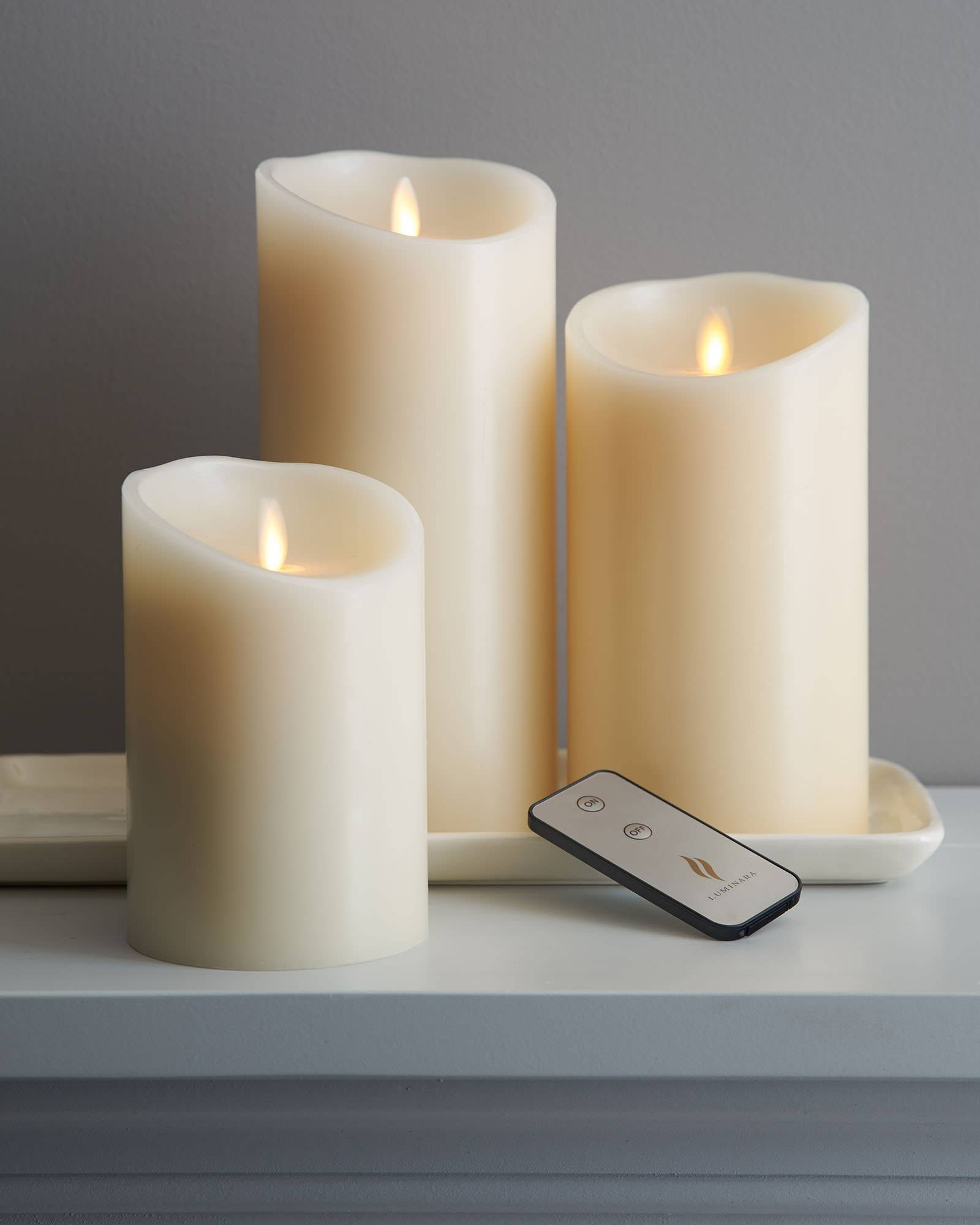 Ivory Smooth Flicker Candle Pillar (Unscented, LED) | Balsam Hill