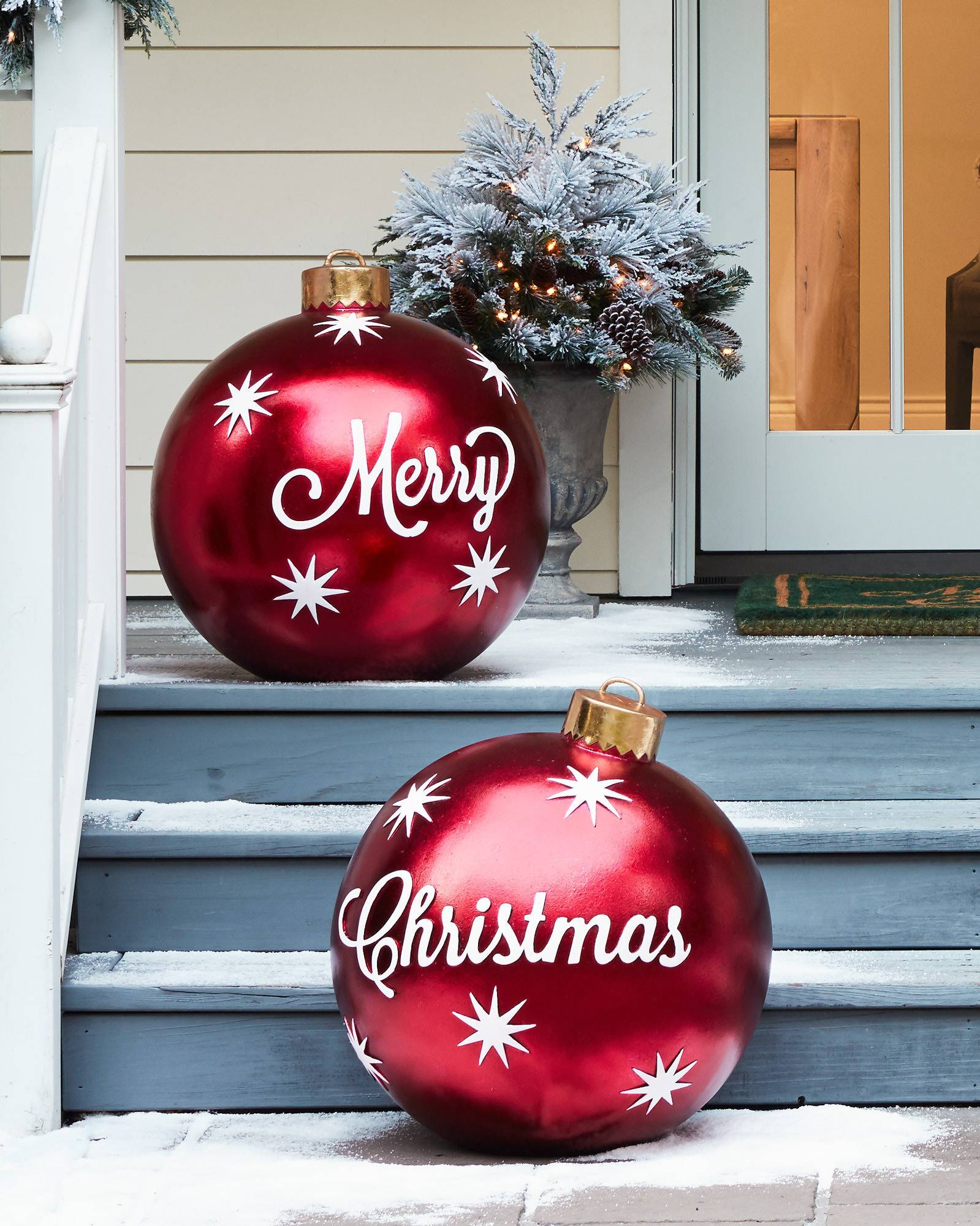 Large Red Christmas Tree Ornaments : Outdoor merry christmas ornaments balsam hill