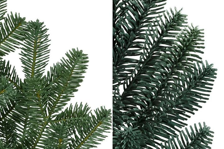 A collage of photos comparing the Balsam Fir and Noble Fir artificial Christmas tree foliage