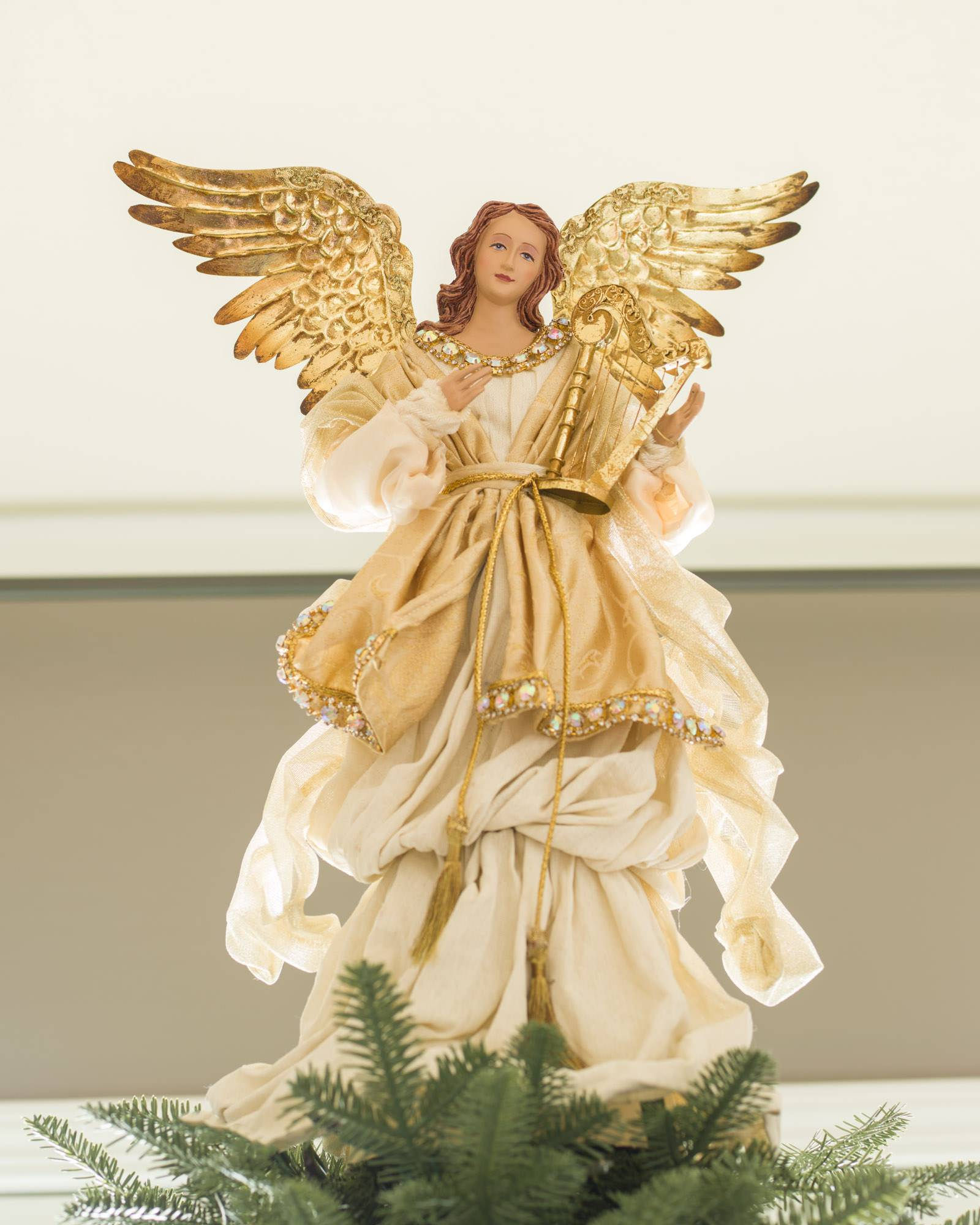 Gold angel tree topper balsam hill for Christmas angels