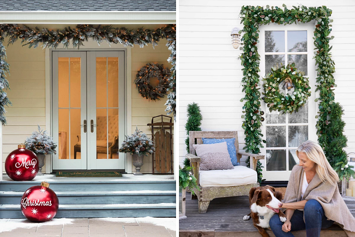 Christmas-themed artificial wreaths and garlands decorating two front porches