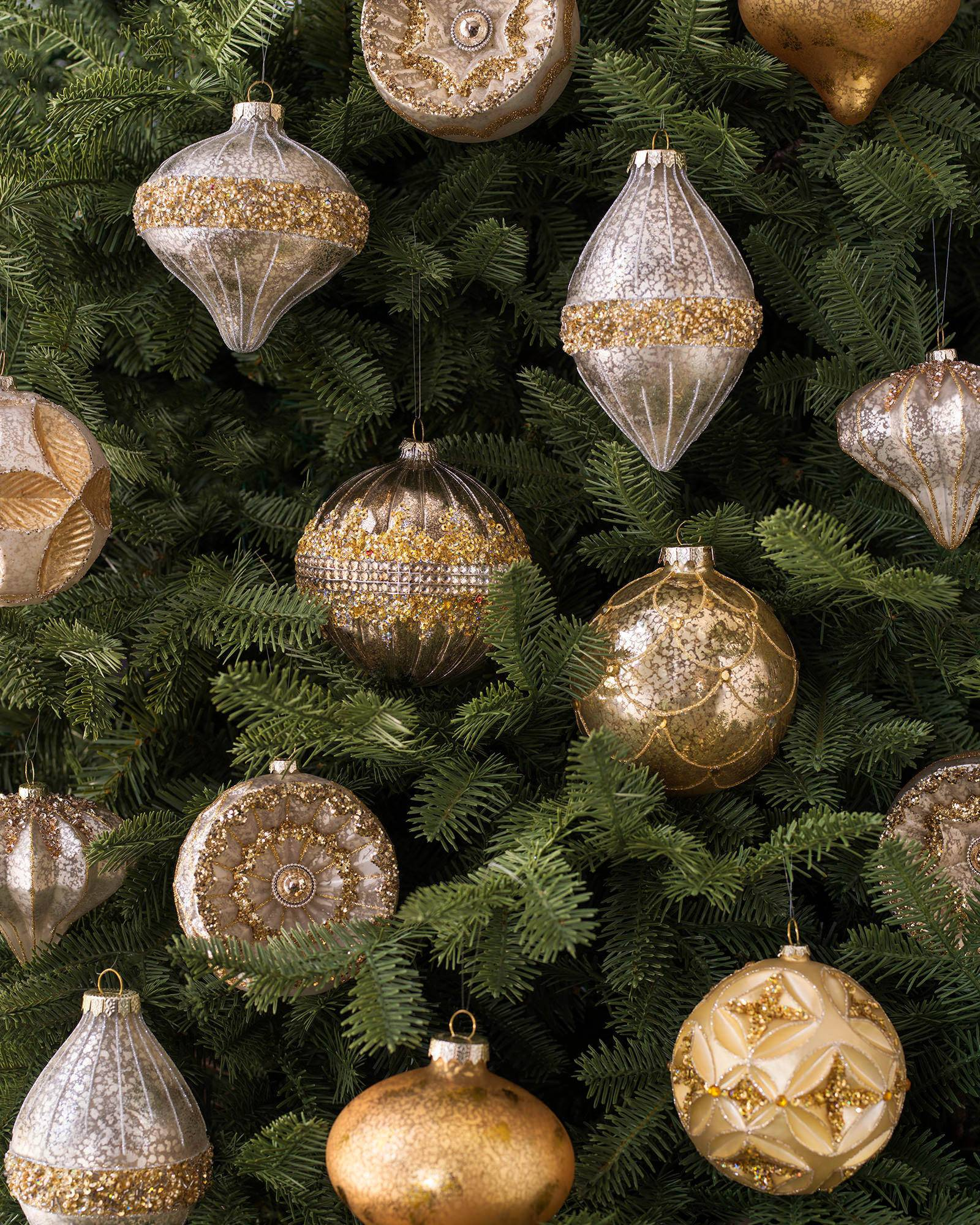 Christmas tree ornaments sets -  Silver And Gold Glass Ornament Set Alt