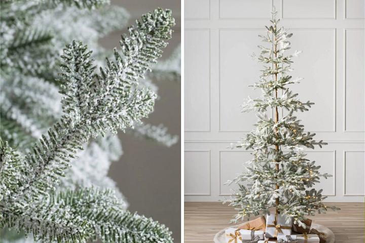 A close-up of the Frosted Alpine Balsam Fir artificial Christmas tree on the left and the full profile of the tree on the right