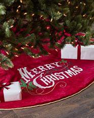 vintage-style red velvet Christmas tree skirt