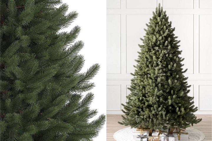 close-up and wide shots of Balsam Hill Vermont White Spruce Christmas tree