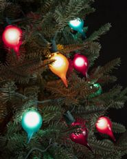 Colorful retro-shaped light strings on tree