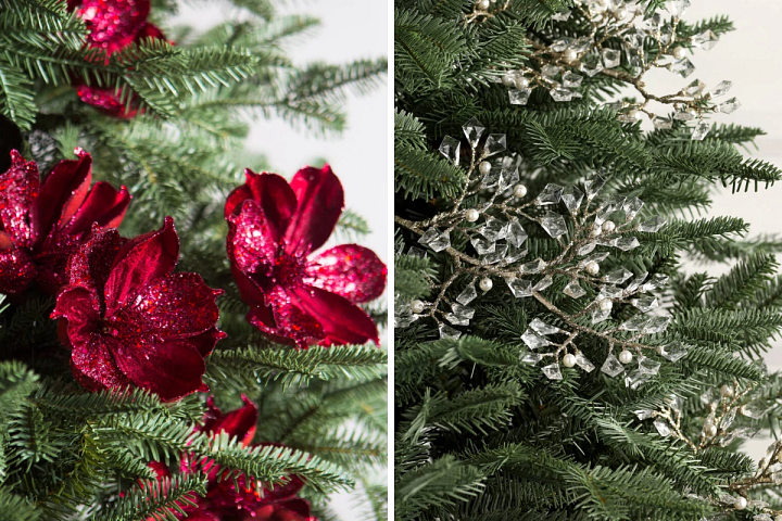 red floral picks and crystal and pearl champagne picks on a Christmas tree