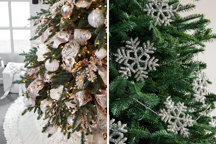 gold and champagne ribbons on a Christmas tree and beaded snowflake garland draped on a tree
