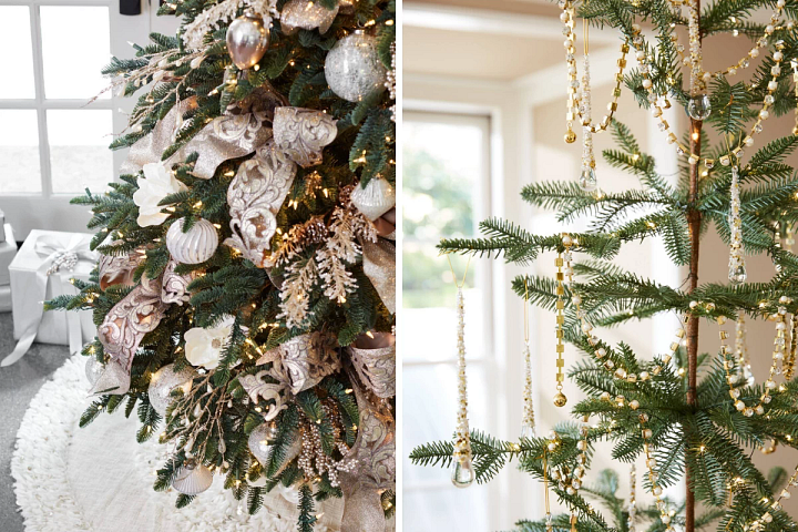 gold and champagne ribbons on a Christmas tree and gold jeweled garlands draped on a sparse tree