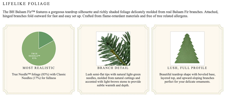 screenshot of an artificial Christmas tree product page with foliage details