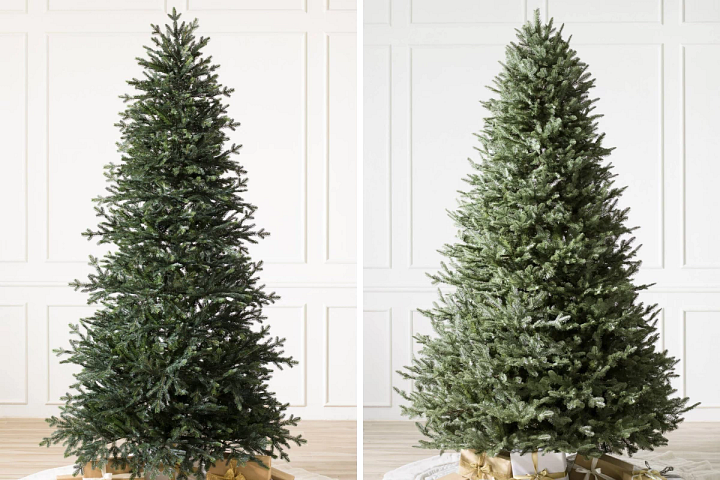 An unlit artificial spruce Christmas tree and an unlit Balsam fir Christmas tree