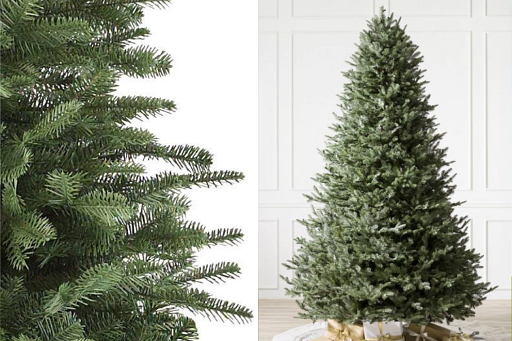 A close-up of the Balsam Fir artificial Christmas tree on the left and the full profile of the tree on the right