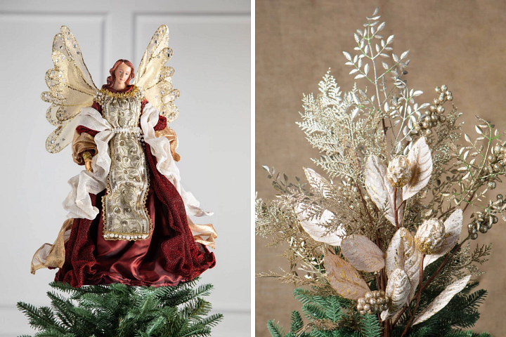 burgundy angel tree topper and bouquet tree topper