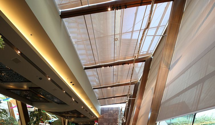 Mecho commercial shade in Aria Las Vegas hospitality building